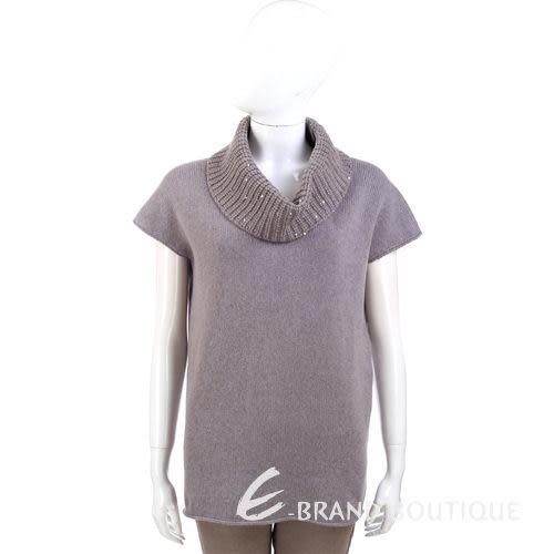 FABIANA FILIPPI 可可灰色鬆高領針織短袖毛衣 1340328-07