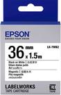 LK-7WB2 EPSON  磁鐵系列白底黑字標籤帶(寬度36mm) C53S657405