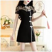 旗袍改良版洋裝短褲兩件套輕熟年輕款蕾絲套裝夏季