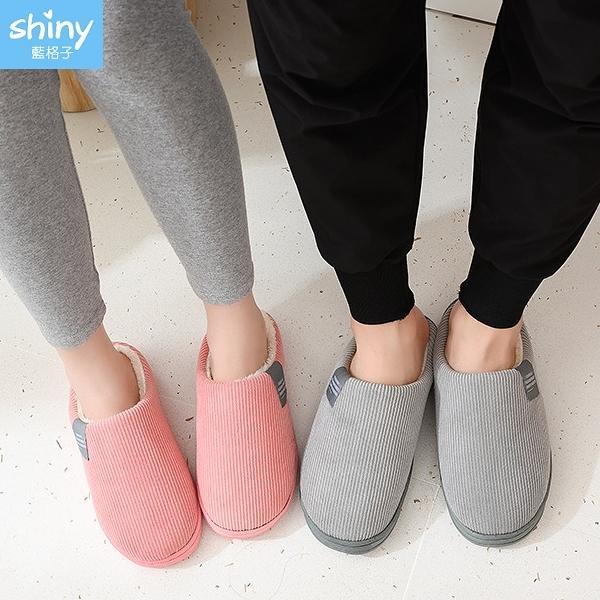 【V9293】shiny藍格子-時尚簡約.冬季居家室內家用保暖防滑毛絨棉拖鞋