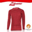 【Litume 意都美 男 刷絨彈性保暖衣《紅》】KJ003W/內層衣/圓領/內刷毛/抑臭/快乾