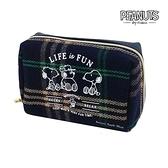 【SAS】日本限定 SNOOPY 史努比x COCOART 格紋家族朋友版 收納包 / 化妝袋 / 化妝包