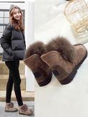 雪靴    2018新款秋冬平底短靴學生冬鞋短筒毛毛加絨棉鞋