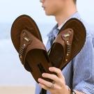 夏季人字拖男士防滑夾腳防滑室外休閑沙灘涼拖鞋爸爸軟底皮涼拖鞋