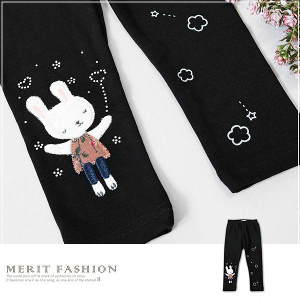 韓版知性小兔貼鑽內搭褲 黑色 長褲 百搭 彈性 碎花 雲朵 星星 棉質 舒適 女童 哎北比童裝