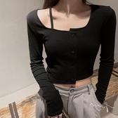 黑色高腰短款T恤女長袖設計感小眾春秋薄款心機修身露肩針織上衣 寶貝計劃