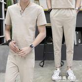 亞麻套裝男夏季青年仿棉麻短袖T恤男士上衣服大碼寬鬆中國風男裝T  韓風物語