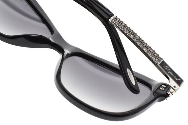 CHOPARD 太陽眼鏡 CP189S 0700 (黑銀) 奢華晶鑽貓眼款漸層藍 # 金橘眼鏡