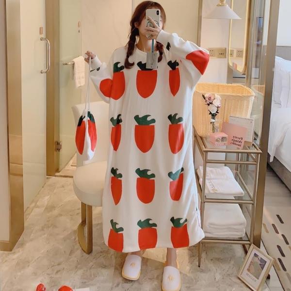 韓國布袋珊瑚絨睡裙秋冬季可愛鴨寬鬆長款學生睡衣女法蘭絨家居服   蘑菇街小屋