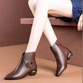 粗跟鞋 馬丁靴女英倫風2021新款短靴女單靴學生粗跟加絨小跟鞋百搭女靴子 韓國時尚週