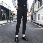 西裝褲男褲子男夏季韓版西裝褲男士修身休閒褲潮流小腳褲黑色薄款九分西褲新品