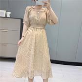小波點方領洋裝 夏季時尚新款女裝中長款韓版學院風收腰裙