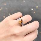 『晶鑽水晶』天然黃水晶戒指 銀K 約6.5x8.5mm 方形 蘇聯鑽 招財 改善腸胃 生日 情人節禮物