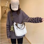 現貨 斜背包單肩手提帆布包包大容量斜挎包女【左岸男裝】