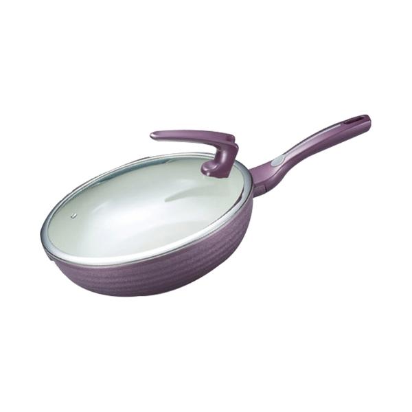 西華 紫羅蘭陶瓷不沾炒鍋(附可站立鍋蓋) 電磁爐可用