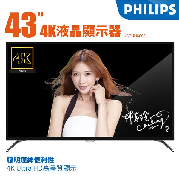 PHILIPS 飛利浦 43吋43PUH6002 4K低藍光雙核心聯網平面 LED 顯示器+視訊卡
