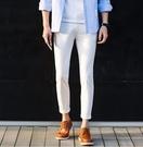 【找到自己】韓國窄版 西裝褲 貼身 白褲 白趴 彈性西裝 窄版 小腳 正式休閒褲 外出 工作擺搭