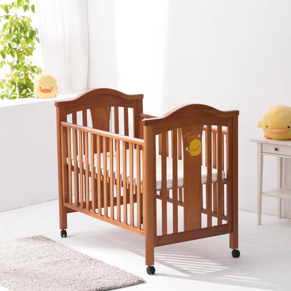 黃色小鴨 松木嬰兒床+床墊+七件組床組