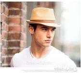紳士帽 草編帽子男韓版潮時尚遮陽小禮帽女英倫復古爵士帽紳士帽防嗮草帽 傾城小鋪