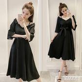 大尺碼洋裝--女裝胖mm夏裝新款一字領露肩雪紡顯瘦遮肚子連身裙遮肉 FR12227『俏美人大尺碼』