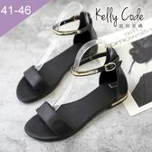 大尺碼女鞋-凱莉密碼-夏日時尚風金邊瑪莉珍真皮羅馬涼鞋2cm(41-46)【BY130-72】 黑色
