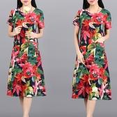 民族風連身裙 夏裝寬鬆大碼中長裙子復古民族風女裝修身顯瘦棉麻短袖洋裝-Ballet朵朵