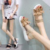 涼鞋女學生夏新款百搭韓版仙女軟妹松糕厚底網紅鞋子復古