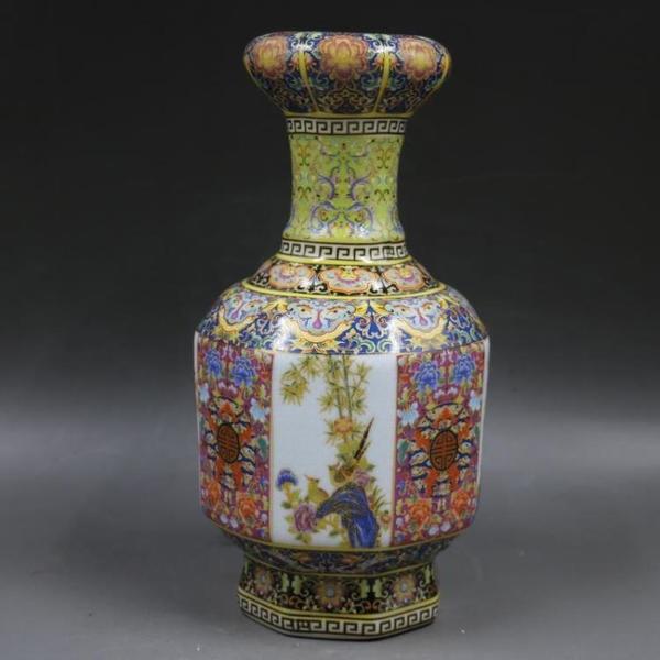 清雍正年制爬花琺瑯彩六方花鳥長頸瓶 仿古瓷器擺件 古董古玩收藏1入