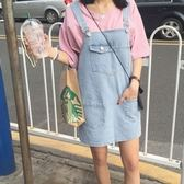 吊帶裙-韓版百搭學院風可愛大口袋連身牛仔裙2色69i35[巴黎精品]