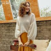 薄款套頭毛衣女秋裝新款圓領寬鬆泡泡袖慵懶馬海毛打底針織衫 9號潮人館