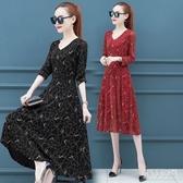 秋冬新款合適胖女人洋氣大碼洋裝女裝胖mm時尚長袖蕾絲連身裙 yu9897『俏美人大尺碼』