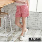 【JEEP】女裝 經典百搭抽繩短褲-粉紅色