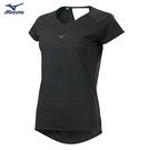 MIZUNO 女裝 短袖 T恤 慢跑 路跑 吸汗快乾 反光燙印 後背挖洞 黑【運動世界】J2TA120409