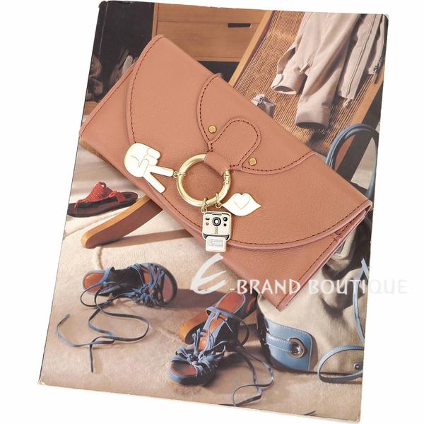 SEE BY CHLOE HANA 趣味吊飾金屬圈釦式長夾(粉橘色) 1910081-39