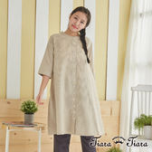 【Tiara Tiara】百貨同步 細直紋緹花領半袖洋裝(藍/灰/駝) 預購 新品穿搭