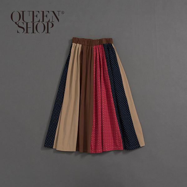Queen Shop【03020579】女裝 親子系列 點點色塊拼接長裙*現+預*