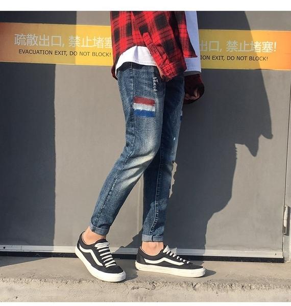 FINDSENSE H1 2018 夏季 日本 九分褲 藍色 牛仔褲 小腳褲 潮