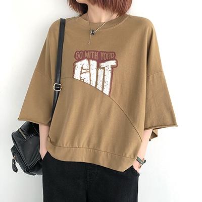 圓領短袖上衣 純棉T恤女 字母印花七分袖T恤/4色-夢想家-0330