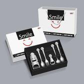 售完即止-大頭開心笑臉不鏽鋼餐具套裝叉勺筷實用餐具12-26(庫存清出T)