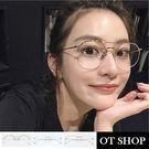 OT SHOP眼鏡框‧時尚簡約雷朋型雕刻金屬鼻墊平光眼鏡‧黑框金邊/銀色/金色/‧三色‧現貨‧S42