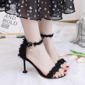 高跟涼鞋 夏季一字少女黑色高跟細跟性感超火春款-炫科技