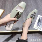 包頭半拖鞋 大碼女外穿2019夏季新款方頭金屬扣鴛鴦粗跟穆勒鞋復古港風 QX12859【棉花糖伊人】