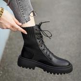 顯腳小的彈力瘦瘦靴子秋季新款百搭英倫馬丁靴粗跟機車短靴女