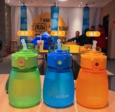 韓版少女迷你可愛簡約大肚塑膠杯兒童寶寶吸管杯清新磨砂學生水杯便攜網 教主雜物間