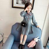 休閒時尚4女童6長袖女7歲寶寶復古裙洋氣裙連身裙潮歐亞時尚歐亞時尚