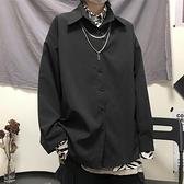 新款季韓版港風復古襯衣外套百搭黑色寬鬆長袖襯衫女 快速出貨