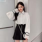 2019秋季新款白襯衫女長袖韓版寬鬆喇叭袖襯衣複古港味仙女範上衣