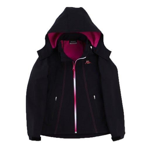 KAPPA義大利女高保暖防風外套(可拆帽)~黑-櫻桃紅