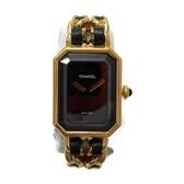 CHANEL 香奈兒 黑色錶盤鍍金QZ石英手錶 Premiere M尺寸  【二手名牌BRAND OFF】