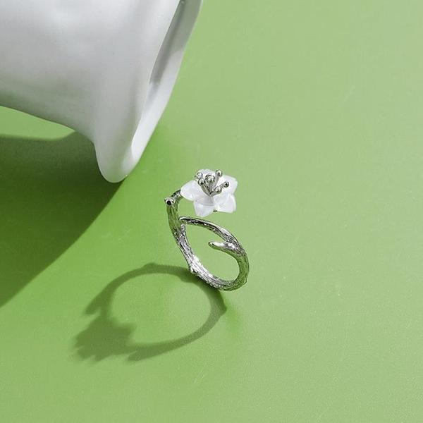 高級感氣質小花藤開口戒指女輕奢小眾精致簡約925純銀開口戒sin潮